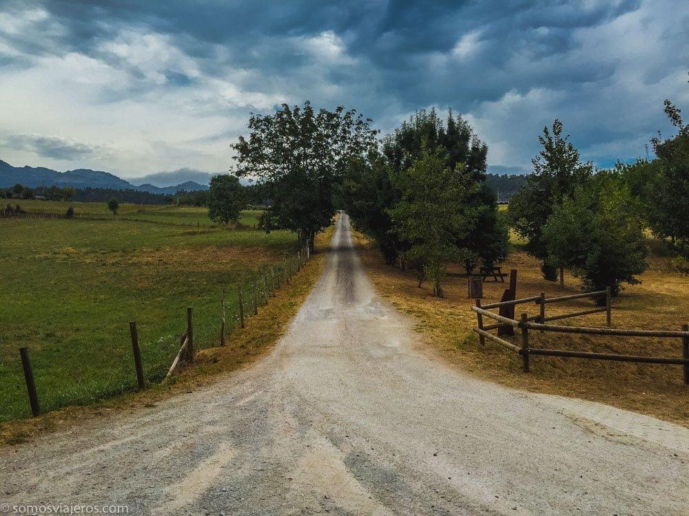 Camino de acceso a la ruta paleolítica de la cueva del valle en Rasines