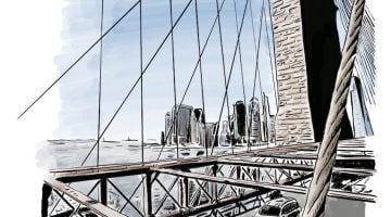 Dibujos viajeros. Desde el puente de Brooklyn