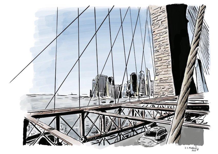 Dibujo del puente de Brooklyn