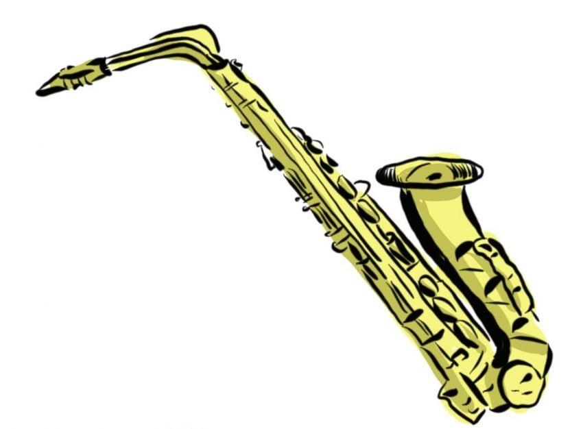 dibujo de Bruselas y el saxofon