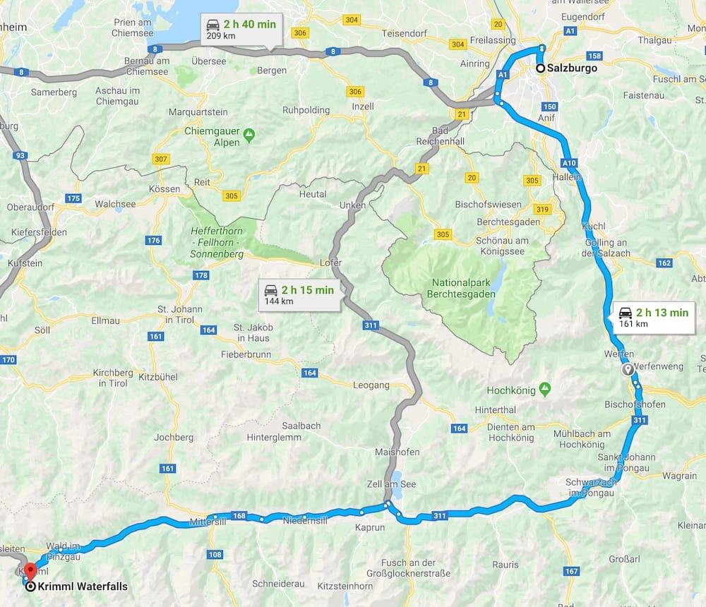como llegar a las cascadas krimml en Austria