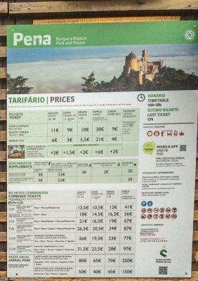 tarifa precios - palacio da pena