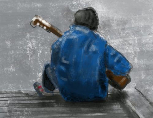 músico en montmartre dibujo en iPad con procreate