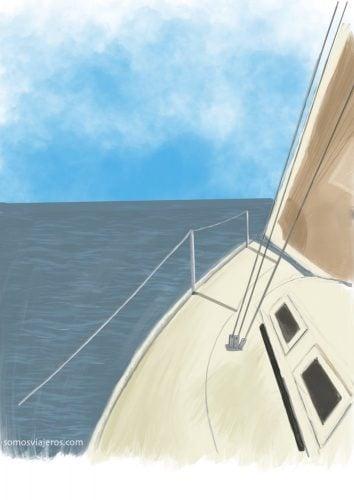 dibujo de un velero en el iPad