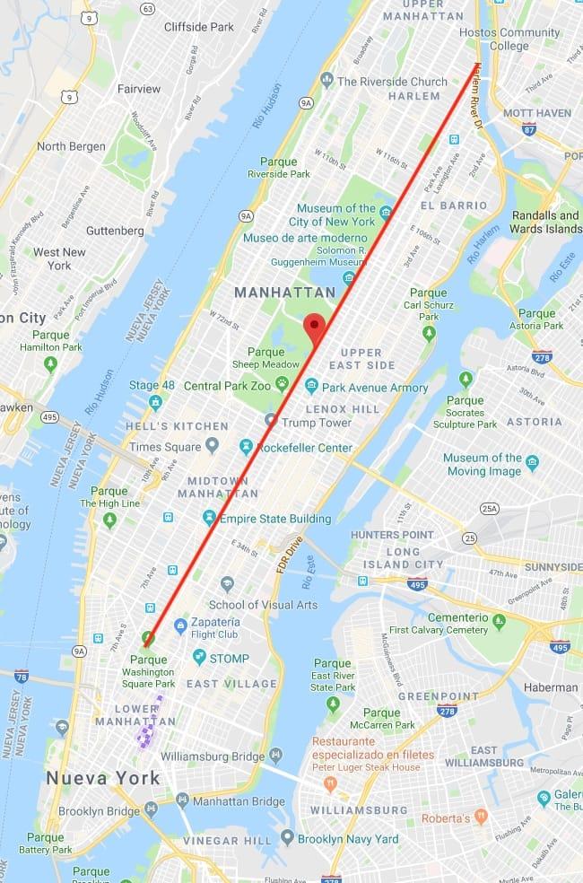 Mapa de Manhattan con la quinta Avenida marcada en rojo