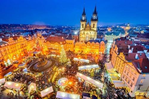plaza Ciudad Vieja en Navidad