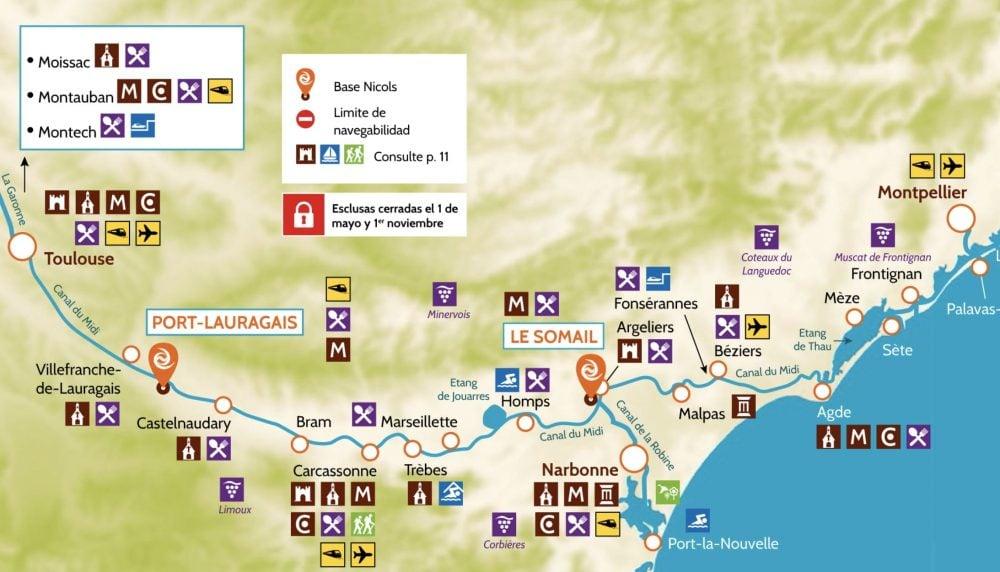 mapa del canal du midi