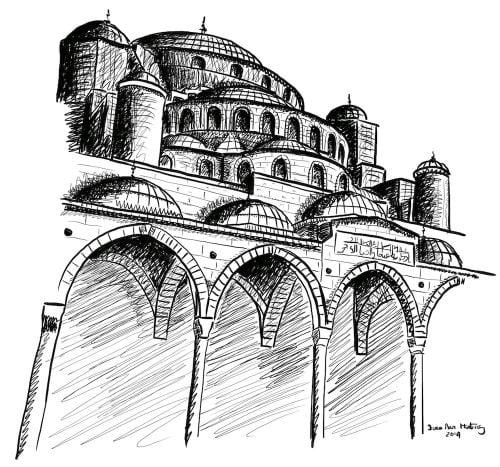 dibujo Mezquita Azul Estambul